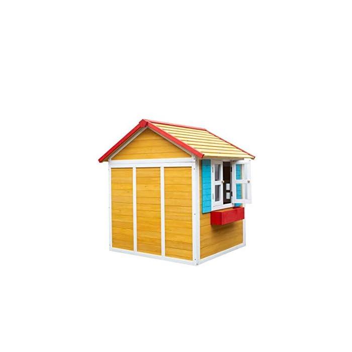 41oL1SECWNL La casita Visby es una preciosa casita con unos colores que a los niños les encantará. Son colores muy cálidos y agradables que harán de esta casita un lugar del que no salir. La casita Visby es de un tamaño compacto, apta para cualquier jardín o patio particular. La casita Visby tiene muchos detalles que darán vida a esta casa. Desde sus ventanas fijas y practicables hasta los maceteros o incluso una chimenea en su interior! La casita Visby parece una casa de madera de verdad, un auténtico refugio donde sus sueños se harán realidad. La casita Visby está fabricada de madera de pino y está tratada para ser instalada al exterior. El montaje de la casita es fácil y te llevará poco tiempo. En unos minutos tendrás la casita Visby montada y lista para instalar en cualquier espacio de tu jardín y a punto para que jueguen con ella durante horas y horas.