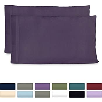 Cosy House Collection Luxury Bamboo King Size Pillow Cases - Purple Pillowcase Set of 2 - Ultra Soft & Cool Hypoallergenic Natural Bamboo Blend Cover - Resists Stains, Wrinkles, Dust Mites