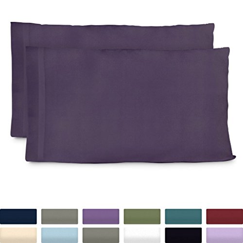Cosy House Collection Luxury Bamboo Standard Size Pillowcases - Purple Pillowcase Set of 2 - Ultra Soft & Cool Hypoallergenic Natural Bamboo Blend Cover - Resists Stains, Wrinkles, Dust Mites ()
