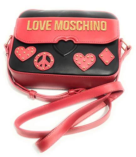 Donna Borsa Di Nero Tracolla rosso In Bs19mo57 Vitello Moschino Nappato Love Pelle O5SqWwd