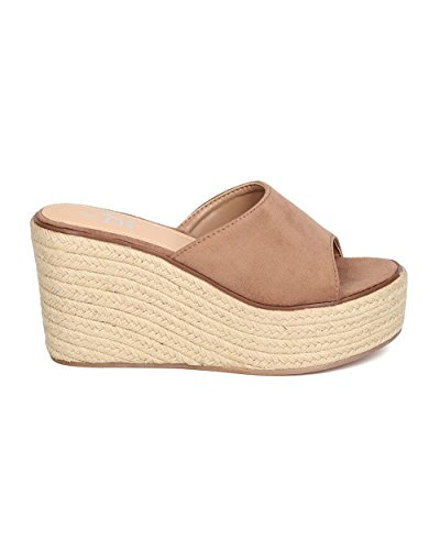 Betani Vrouwen Faux Suede Espadrille Sandaal - Casual, Chic, Veelzijdig - Platform Wedge Mule - Gc00 By Taupe