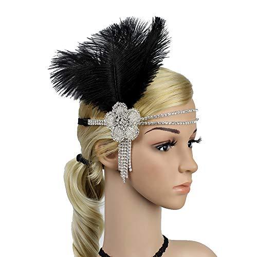 Great Gatsby Flapper Headband Elegant Crystal Rhinestone Flower Tassels 1920s Vintage Hairband Old Hollywood Glam Headpiece (Black)]()