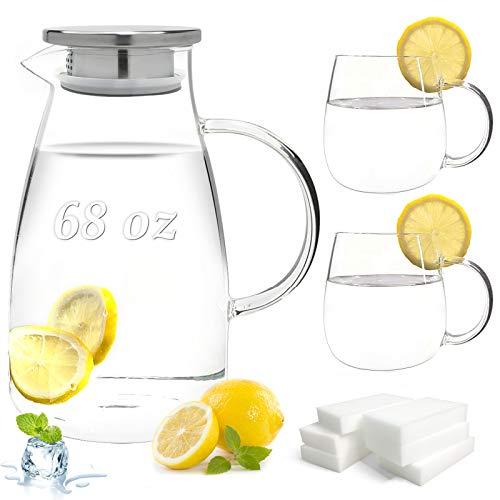 (9 PCS) Glass Pitcher Gift Set Borosilicate 2.0 Liter 68 Ounces Glass Pitcher with Lid and 2 Borosilicate Glass Cups…