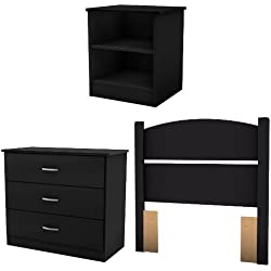 South Shore Libra 3-Piece Bedroom Set with Dresser, Nightstand, and Twin Headboard, Pure Black