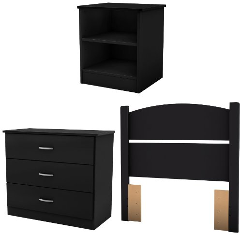 South Shore Libra Bedroom Set In A Box, Twin, Pure Black Images