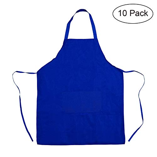 TRENDBOX Total 10 PCS Waterproof Lightweight Peach Skin Velvet Bib Apron Adult Women Unisex with Front Pocket Washable for Cooking Baking Kitchen Restaurant Crafting - ()
