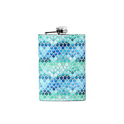 Mermaid 8oz hip stainless steel flask whith flasks for liquor for women,whiskey flask for women,mermaid gifts for women (Dream blue)