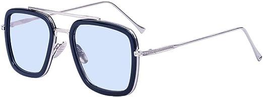 Outray Gafas de sol retro Gafas Tony Stark Gafas cuadradas con marco de metal para hombres Mujeres Iron Man Gafas de sol negras Marco negro Lente azul claro: Amazon.es: Ropa y accesorios