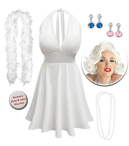 Deluxe Marilyn Costumes (Marilyn Monroe Plus Size Supersize Halloween Costume Deluxe Wig Kit 0x)