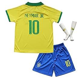 Brésil #10 Neymar Jr. Maillot et Short de Football Domicile Ensemble pour Garçon Enfants