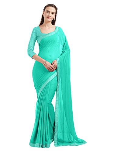 Women's Marble Chiffon Fancy Work Indian Saree Bollywood Dress (5537_Turquoise)