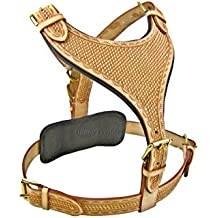 Luxury Hand Tooled Maximus Natural Large Leather Dog Harness Rottweiler Pitbull German Sheperd