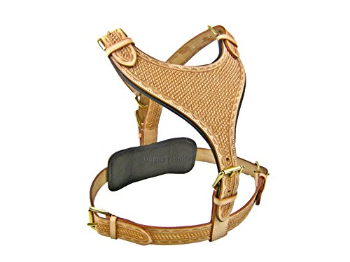 Luxury Hand Tooled Maximus Natural Large Leather Dog Harness Rottweiler Pitbull German Sheperd by Avon Pet Products Ltd.