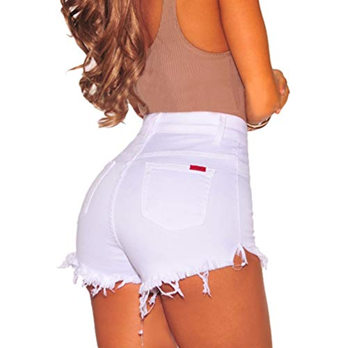 Pantaloni Alta Jeans Estate Bianca Corti Pants Hot Donne Vita Shorts Stretch Denim a Sentaoa Nappa Pantaloncini Skinny wITq1UP