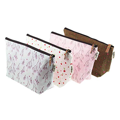 (LJY 4 Pieces Assorted Large Capacity Floral Linen Pen Holder Stationery Pencil Pouch Travelling Multi-Functional Cosmetic Bags)