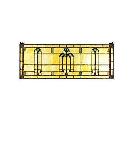 """Meyda Tiffany 50825 Ginkgo Stained Glass Window, 35"""" W x 13"""" H"""