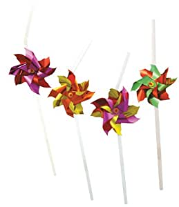 Party Partners Design Pinwheel Decorative Cocktail Drinking Straws, Multicolored, 12 Count