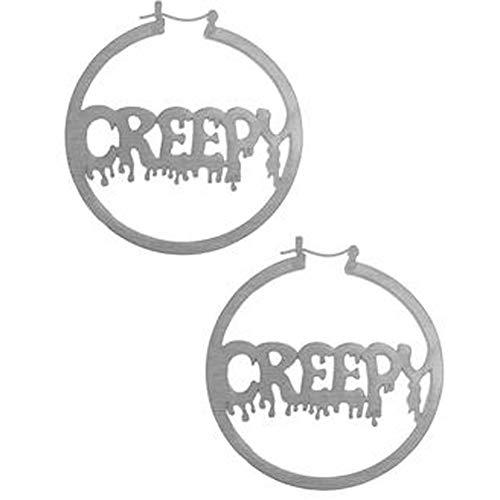 Too Fast Apparel Creepy Girl Halloween Silver Oversized Hoop Earrings -