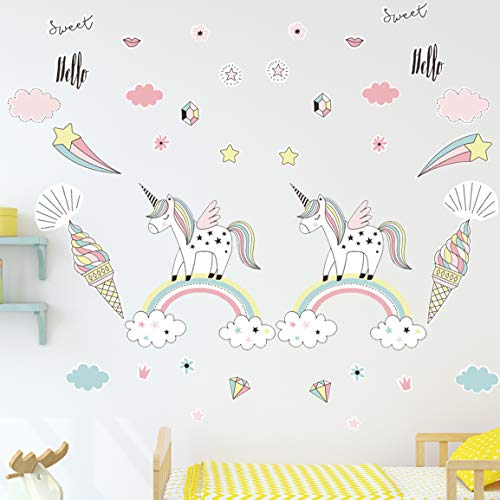 Unicorn Wall Decals, 2 Pack Unicorn Wall Sticker Decor for Unicorn Party Supply Birthday Christmas Gifts for Kids Bedroom Decor Nursery Room Home Decor - Sticker Decal Christmas