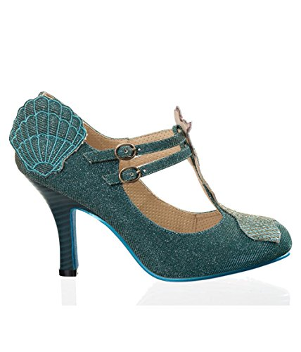 Banned Apparel Stella by Starlight Retro 50s Mermaid Pumps Shoes Aqua NcrNVjKFqn