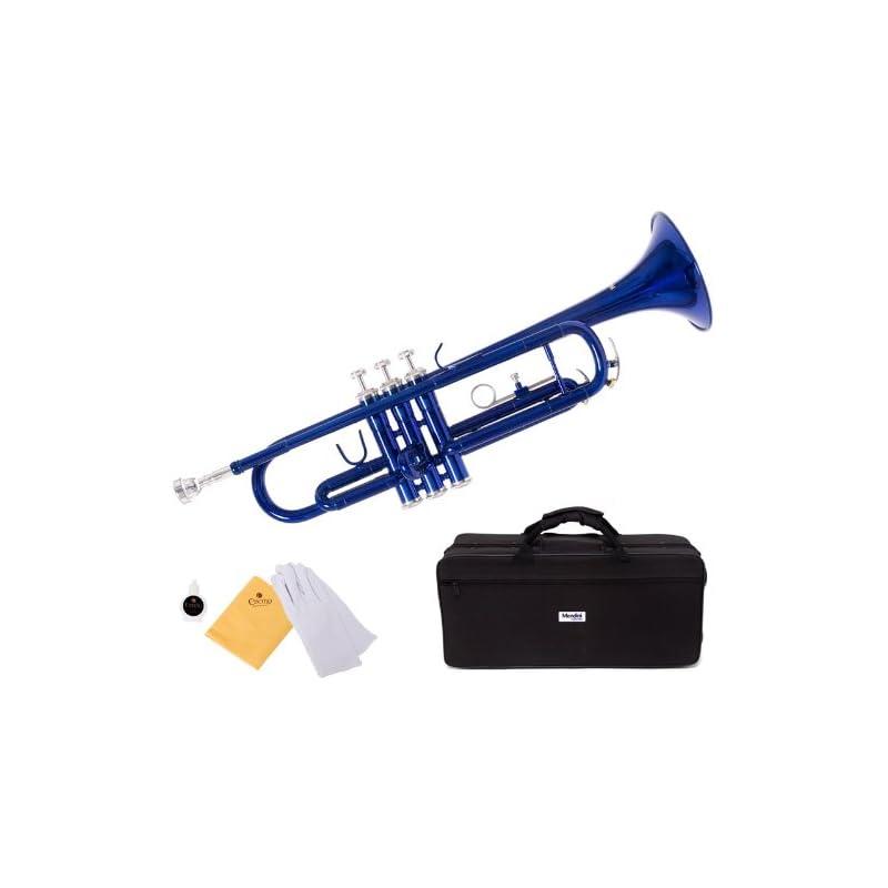 Mendini by Cecilio MTT-BL Trumpet, Blue,
