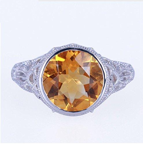 - GOWE Solid 14K White Gold 10mm Round Flawless Citrine Diamonds Engagement Filigree Ring Art Deco Vintage Wedding Gemstone Ring