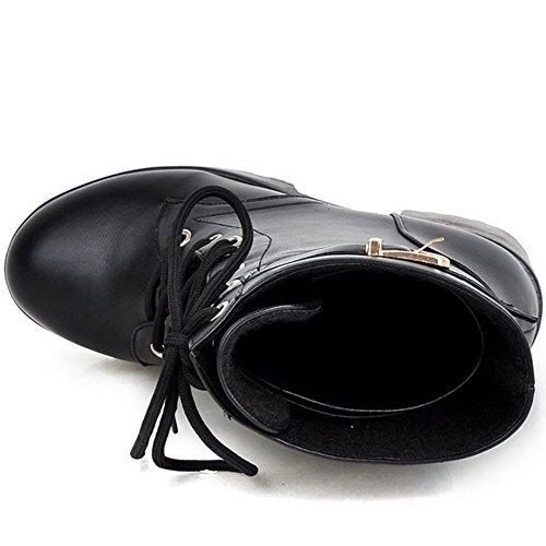 Short Up Platform Chunky High Black KemeKiss Women's Boots Heel Lace pwxOPnRvq