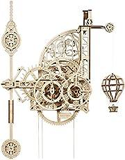 UGEARS Aero Clock 3D-wandklok, 3D-hout, Aero Clock, mechanisch model voor pendel, 3D-klok, van hout, voor volwassenen en kinderen, 14+