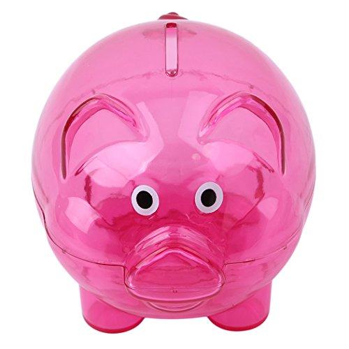LALANG Plastic Piggy Bank Coin Money Bank Saving Box for Kids (Rose Red)]()