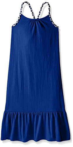 Pink House Big Girls' Maxi Dress With Self Braid Strap, Neon Blue, Medium (Straps Girls Dress)