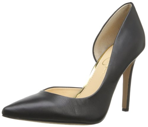 Jessica Simpson Women's Claudette Rubber Dress Pump,Black Alsina Leather,5.5 M US (Stretch Heels Jessica)