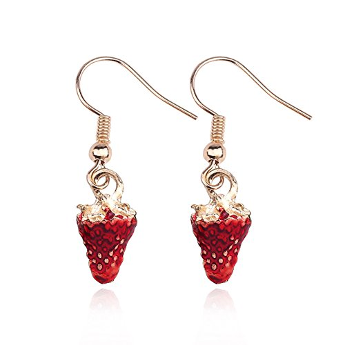18K Gold Plated Fruit design Red Strawberry Charm Drop Dangle Earrings
