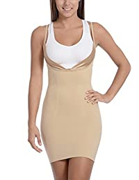 Body Beautiful Women's Open Bust Mid Thigh Full Body Slip Shaper with Butt Support