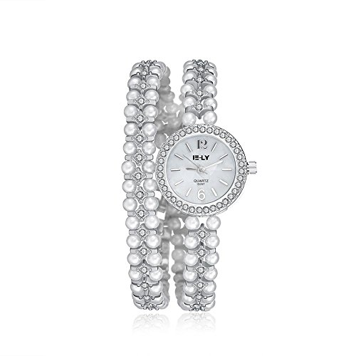 Pearl White Watch (Tidoo Brand Watches, Gorgeous Crystal Silver Tone White Pearls Winding Dress)
