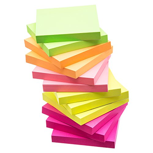 eBoot Sticky Notes Self Sticky Notes 3 x 3 Inches, 12 Pieces, 100 Sheets/ Pieces, Assorted Colors