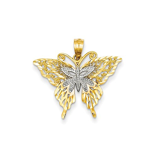 (14k Gold Rhodium Fancy Butterfly Pendant (0.91 in x 0.94 in))