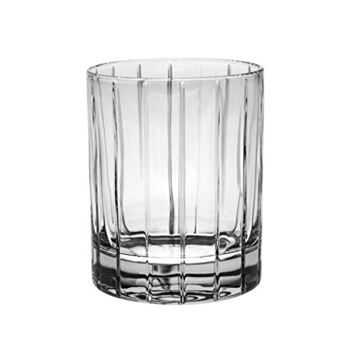 Barski - European Quality Glass - Crystal - Set of 6 - Double Old Fashioned Tumblers - DOF - 13 oz. - with Classic Clear Striped Design - Glasses are Made in Europe