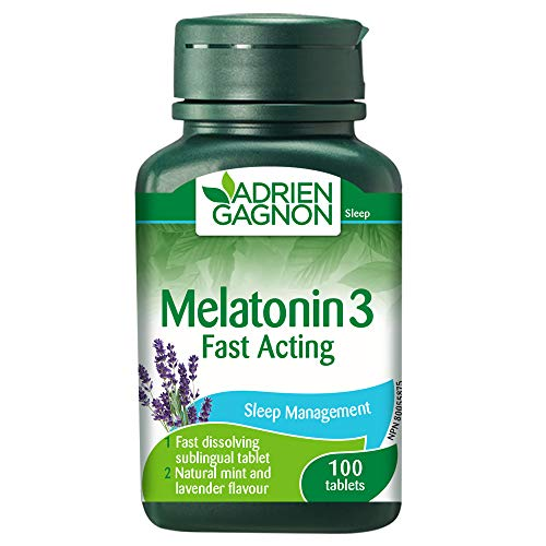 Adrien Gagnon - Melatonin 3 mg, Extra-Strength Fast Acting Sleeping Aid, Mint Flavoured, 100 Sublingual Tablets