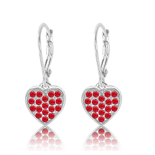 Red Kids Earring - Kids Earrings - 925 Sterling Silver With a White Gold Tone Red Colored Crystal Heart Leverback Children's Earrings Made with Swarovski Elements Kids, Children, Girls, Baby