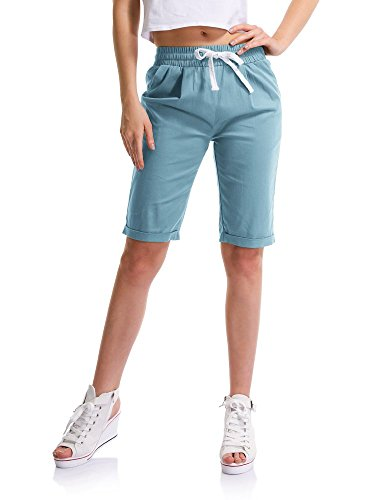 Women's Outdoor Drawstring Elastic Waist Casual Comfy Bermuda Hiking Shorts Turquoise Tag 6XL-US 16 (Croft And Barrow Womens Elastic Waist Pants)