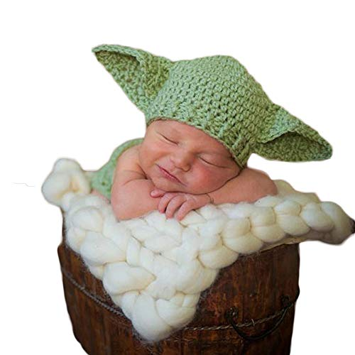 Infant Newborn Baby Boy Girl Crochet Costume Outfits Photography Props Star Wars Master Yoda Outfit Hat+Pant 0-6 Months ()