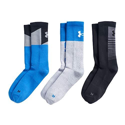 - Under Armour Boy`s UA Phenom Crew Socks 3 Pack (Blue(U3361P3-967)/Black/Grey, Youth Small (Youth Shoe Size 13.5K - 4Y))