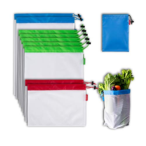 Reusable Mesh Produce Bags 9 PCS for Vegetable Fruit Toys Storage Grocery Shopping