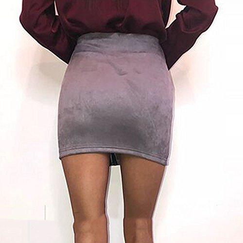 Haute Serr Zip Simple Violet Femme Sude avec Taille Style Faux lgante de en Bonboho Daim Clair Courte Souple Jupe Jupe Jupe UqYwxa4HE
