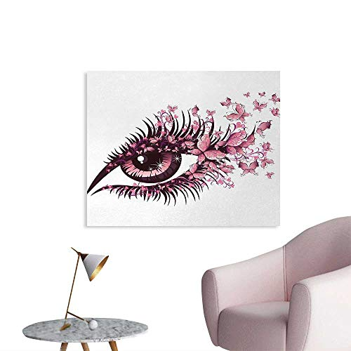 Tudouhoho Butterflies Poster Print Fairy Female Eye with Butterflies Eyelashes Mascara Stare Party Makeup Home Decor Wall Light Pink Purple W48 xL32