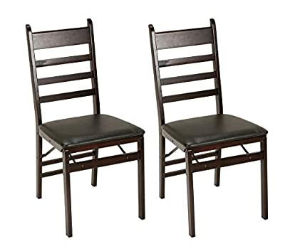 Cosco Espresso Wood Folding Chair with Vinyl seat Back (2-Pack)