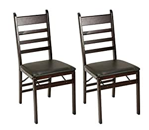 Groovy Cosco Espresso Wood Folding Chair With Vinyl Seat Ladder Back 2 Pack Creativecarmelina Interior Chair Design Creativecarmelinacom