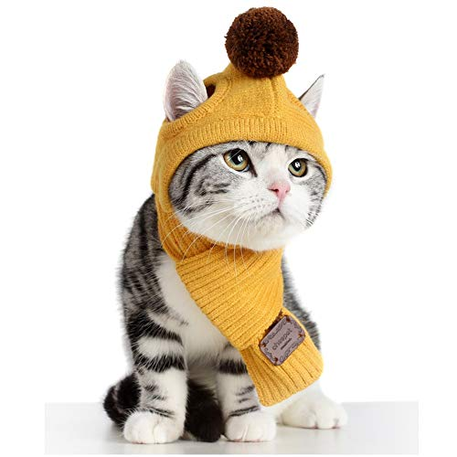 Stock Show Small Dog Cat Winter Warm Soft Super Cute Knit Scarf & Pompom Hat Set Pet Cold Weather Neck Head Warmer Xmas Costume Apparel Hair Grooming Dressup Xmas Gift for Small Dog Puppy Cat, Red
