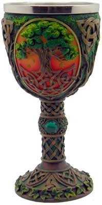 Dining Entertaining Wine Goblet Chalice Tree of Life in Colorful Forest Stainless Steel Insert Cold Cast Resin Cup