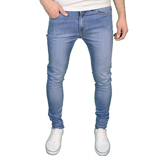 Enzo Mens Designer Branded Super Stretch Skinny Fit Jeans,Light Stonewash,30W x 32L